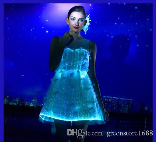 party club light up led optical fiber dress 2016 fibre optic