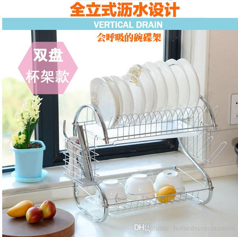 2017 Chrome Plated Stainless Steel Kitchen Draining Rack Kitchen Utensils  Dish Rack Dinner Plates Holder Kitchen Drying Accessories From  Homedecorceramics, ...