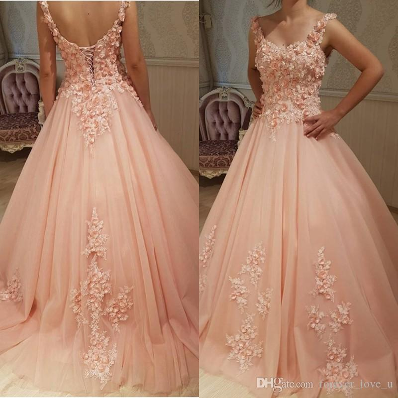 41bfbfb1897 2018 Charming 3d Floral Prom Dress Handmade Flowers Scoop Neck Sleeveless  Open Back Corset Blush Pink Tulle Prom Dresses Evening Gowns Occasion Wear  Online ...