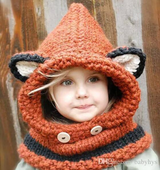 e6115116281 2019 Fox And Wolf Winter Boy And Girls Kids Knitted Hats Yarn Crochet Hats  Handmade Winter Hats For 0 5T Baby Winter Hats+Scarf From Babyhys