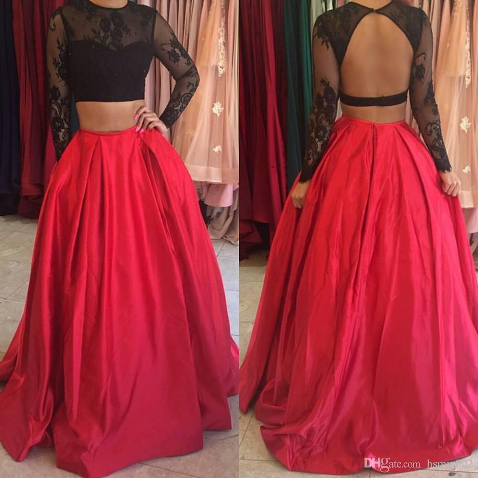 Black Lace Top Two Pieces Long Prom Dresses Elegant O-neckline Sexy Backless Red A-line Prom Dress Hot Sale Prom Party Dress