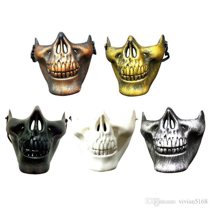 Diversión Paintball Máscaras de Airsoft de PVC Scary Skeleton Skull Mask Juegos de CS de protección Carnaval de Halloween Año Nuevo de alta calidad es