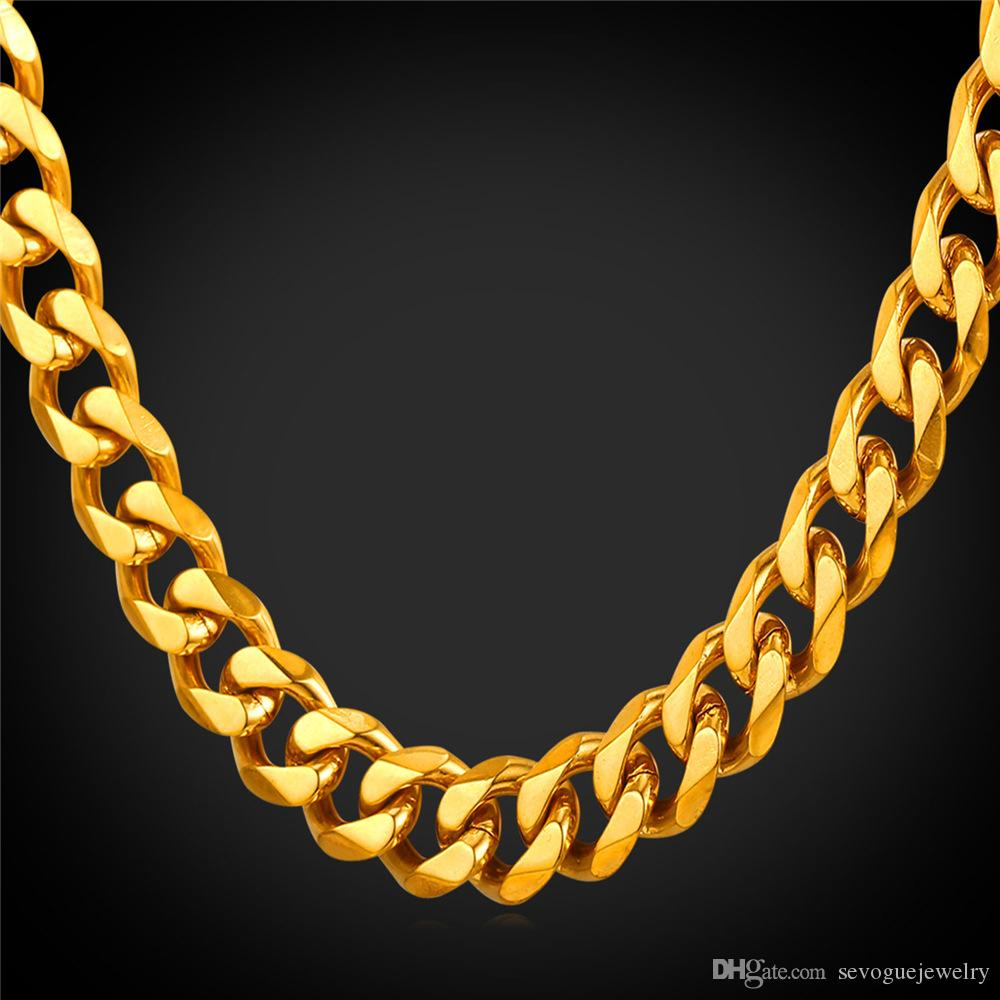 2018 Men Jewelry 18k Real Gold Plated Necklace Cuban Link Chain