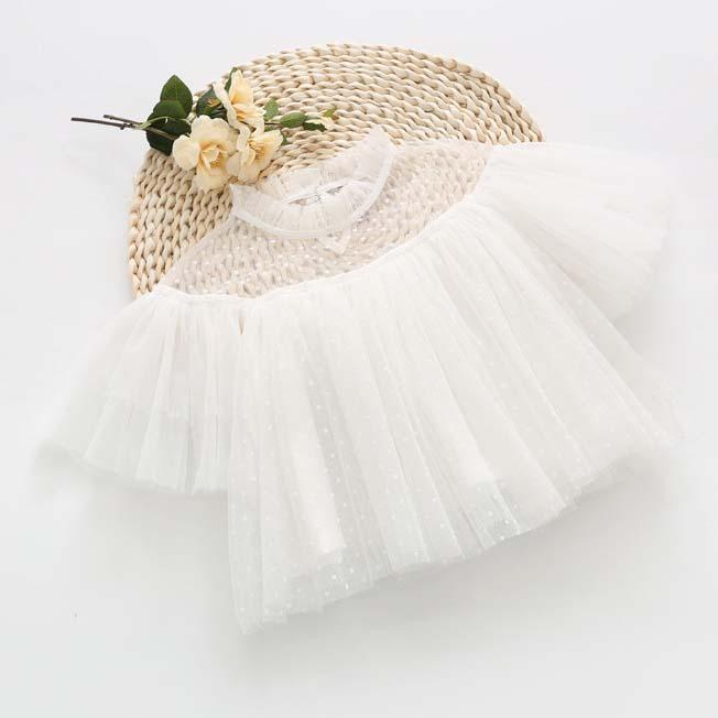 Kızlar Bluzlar Tops Fırfır Prenses Kısa Kollu Gömlek Elbise Bahar Beyaz Çocuk Giyim Çocuk Giyim C23542