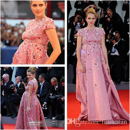 34e454315f1e6 BlingBling Teresa Palmer Maternity Celebrity Dresses Pink Evening Gowns  Beaded Rhinestone Crystal Pregnant Party Gowns 73rd Venice Film Get  Celebrity ...
