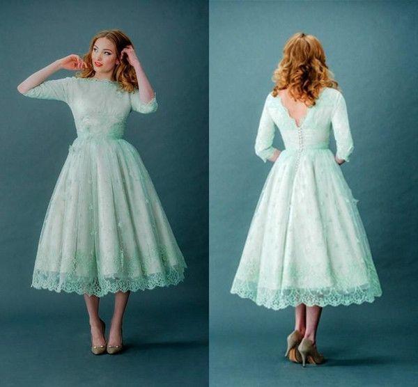 Acheter Longueur De Thé Plus Size Robes De Bal 34 Manches Full Lace