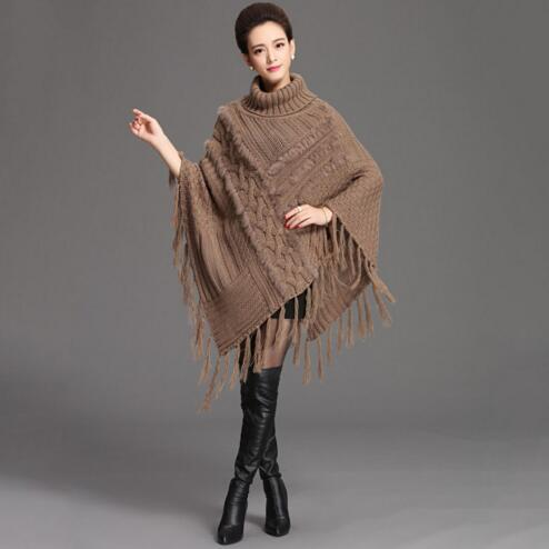 2016 Autumn and Winter Cardigan Fashion Women Sweater Big Casual Knitting ponchoes with tassels real rabbit fur pollover shawls