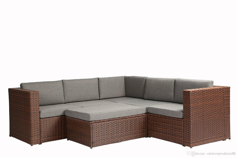 Compre 4 Piezas Muebles Al Aire Libre Completo Patio Amortiguador ...