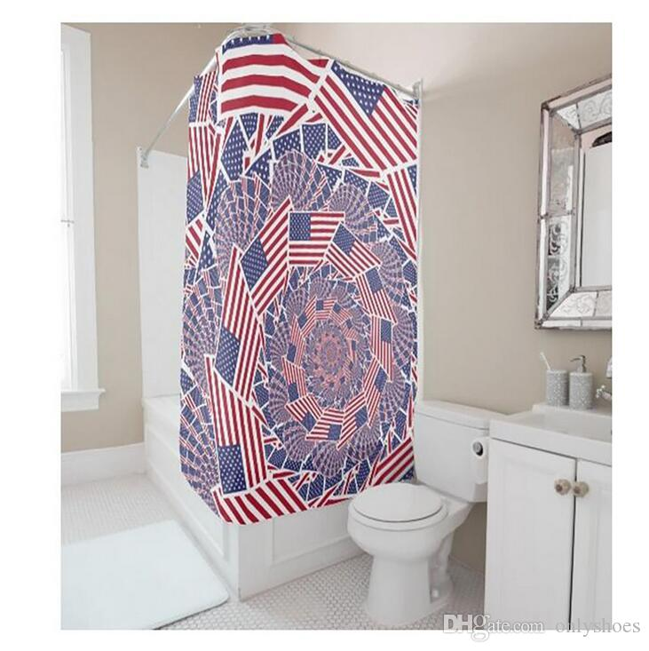 Customs 36/48/60/66/72 (W) x 72 (H) Inch Shower Curtain Flag America Waterproof Polyester Fabric DIY Shower Curtain