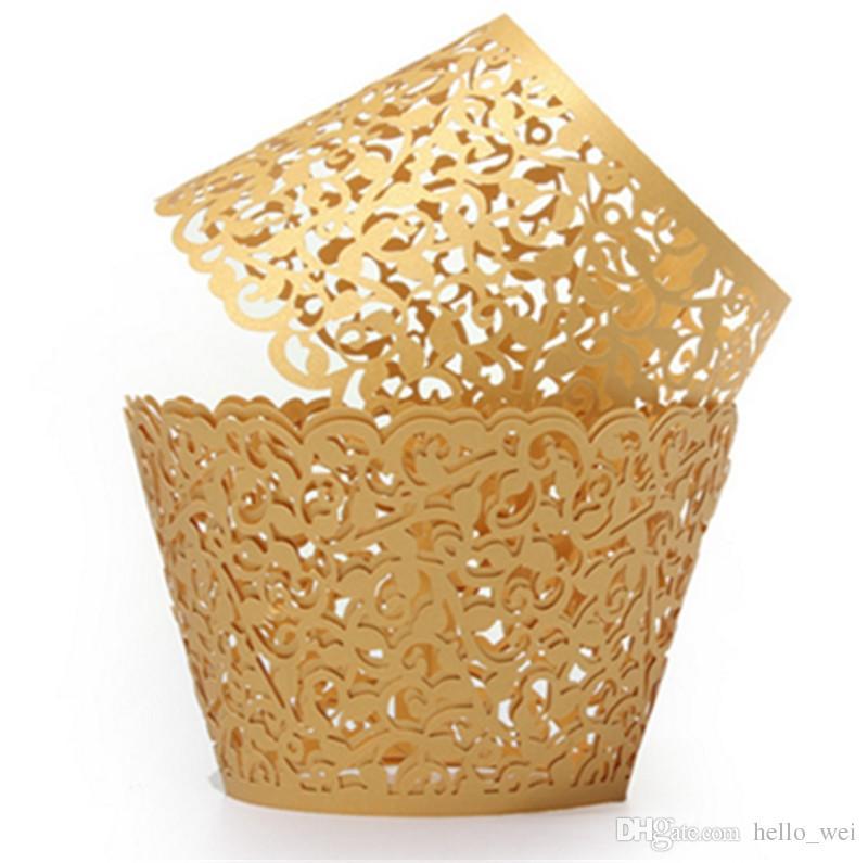 12 Unids / pack Hollow Out Flower Vine Cupcake Papel Wrappers Wraps Casos Muffin Cake Cup Fiesta de Cumpleaños de La Boda Decoraciones