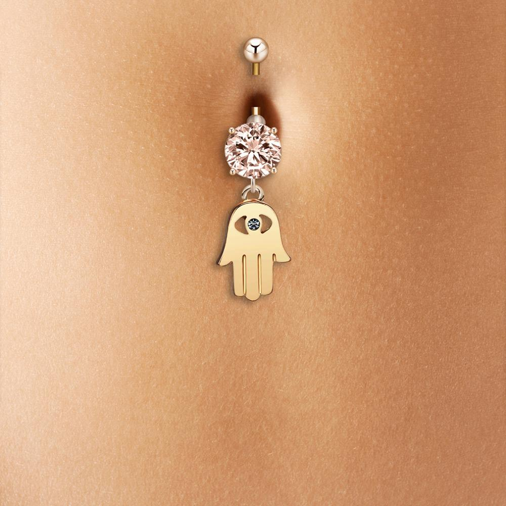 Todorova Fatima Hand Hamsa Crystal Belly Button Rings Women Sexy Piercing Navel Stainless Steel Belly Piercing Jewelry