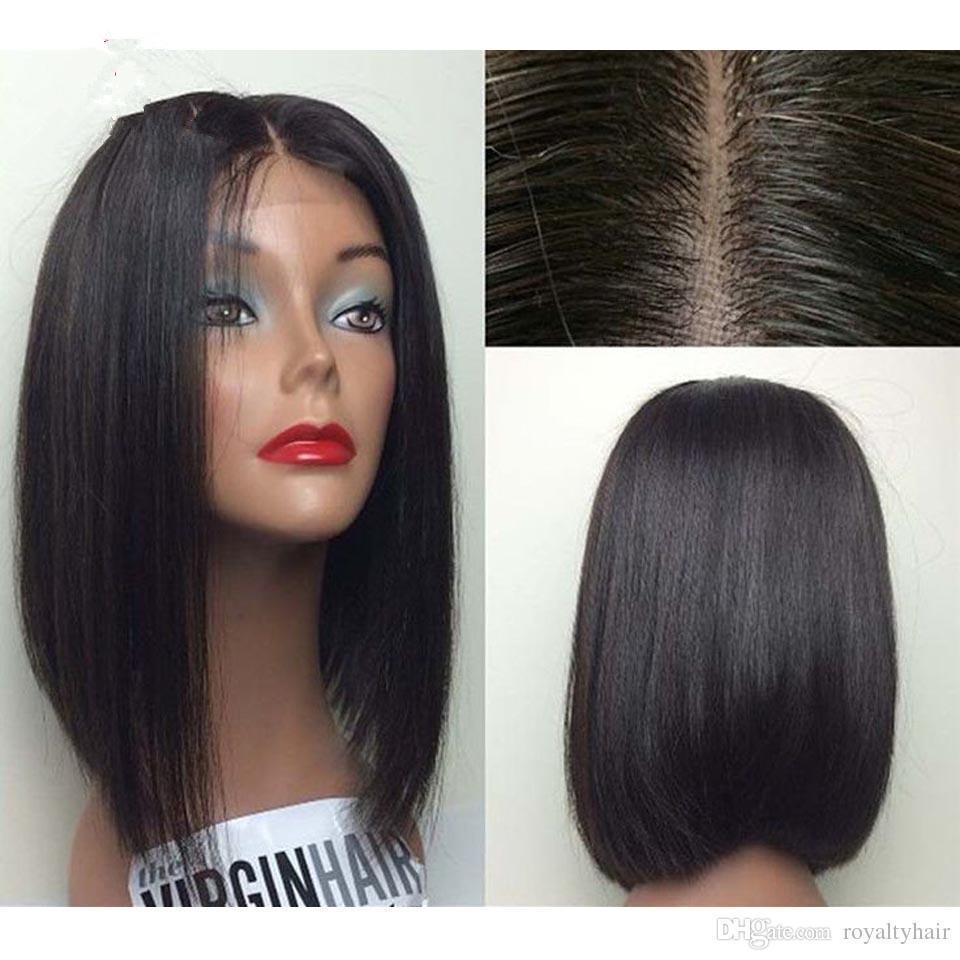 Необработанные Малайзии человеческих волос фронт кружева glueless человеческих волос Короткие Боб полный шнурок человеческих волос парики для чернокожих женщин