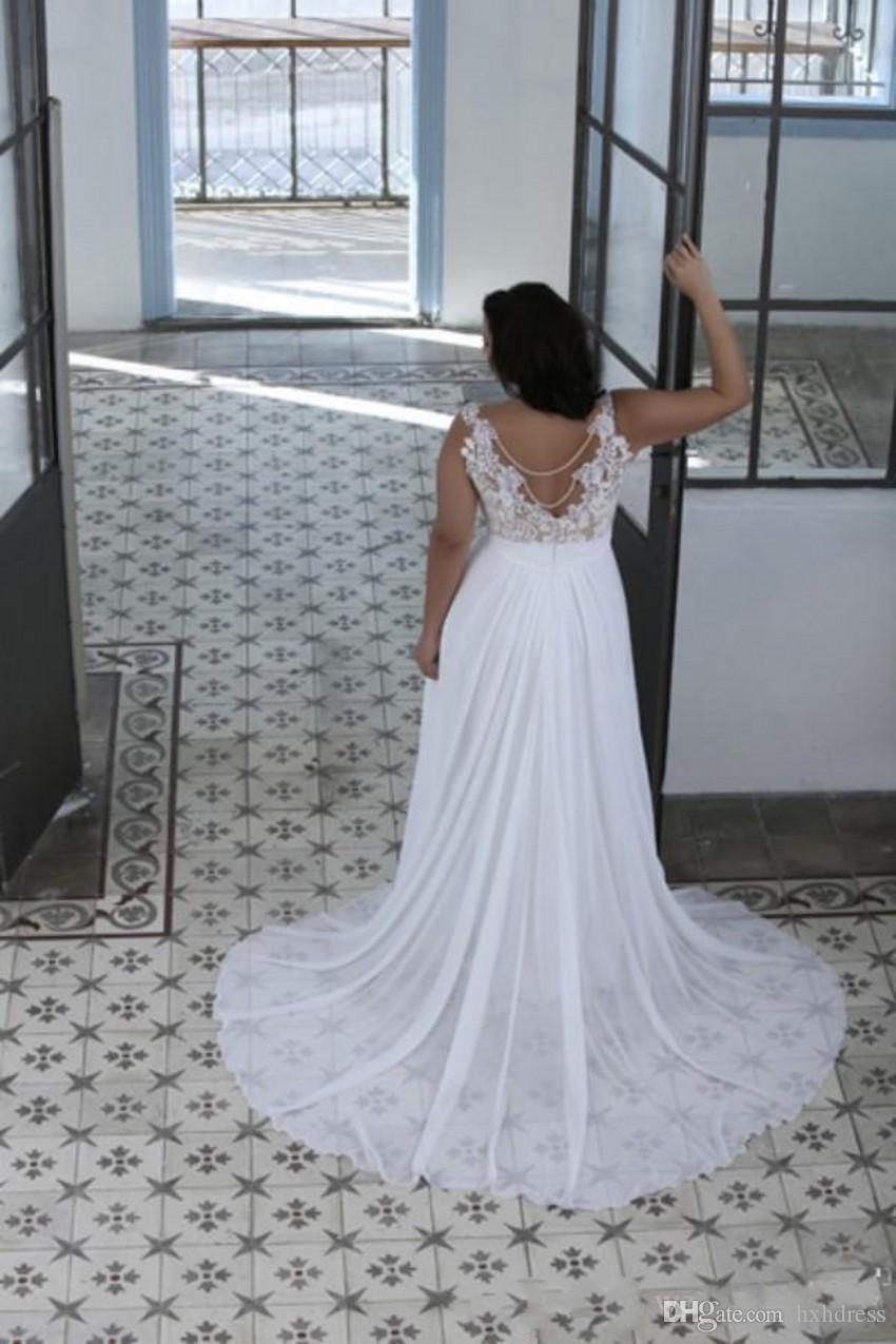 Neu Plus Size Brautkleider Eine Linie Sheer Bateau Neck Schatz Lace Top Brautkleider Weiß Nude Günstige Hochwertige Brautkleider 440