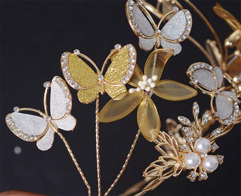 Wedding Princess Queen Crown Tiara Bridal Hair Accessories Crystal Rhinestone Butterfly Headband Headpiece Jewelry Pearl Party Prom Head Pin