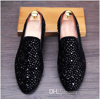 61102362b2442 Promotion New Spring Mens Velvet Loafers Party Wedding Shoes Europe Style  Embroidered Black Velvet Slippers Driving Moccasins NXX344 Canada 2019 From  Guange ...