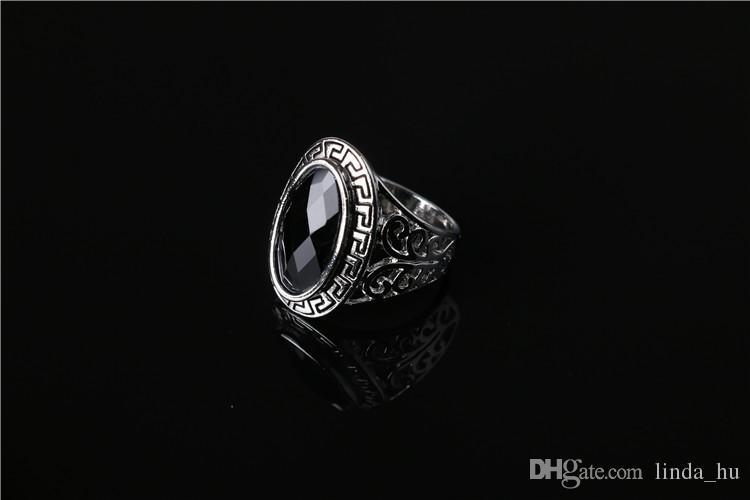 2016 verano europeo y americano moda caliente Corea Sra. Transparente verde ágata piedras preciosas anillos patrón retro baratijas