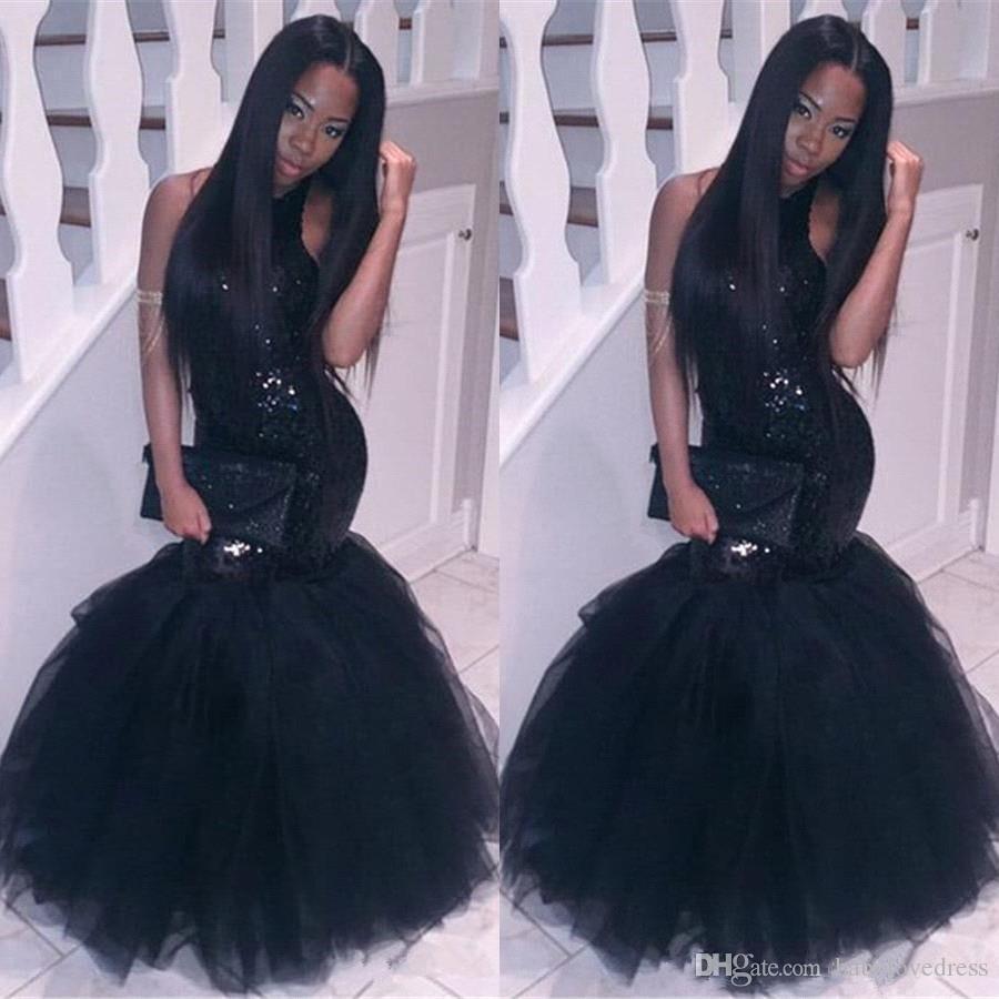Little nero paillettes scintillanti backless prom dresses sirena lungo pavimento in tulle tromba Party abiti da sera