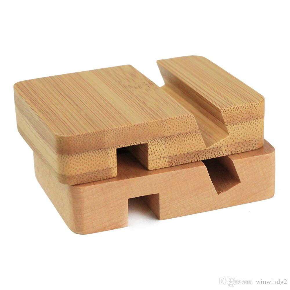 Универсальный деревянный держатель телефона UI ленивый маленький портативный бамбуковый деревянный подставка для iPhone Huawei Samsung Smart Phone