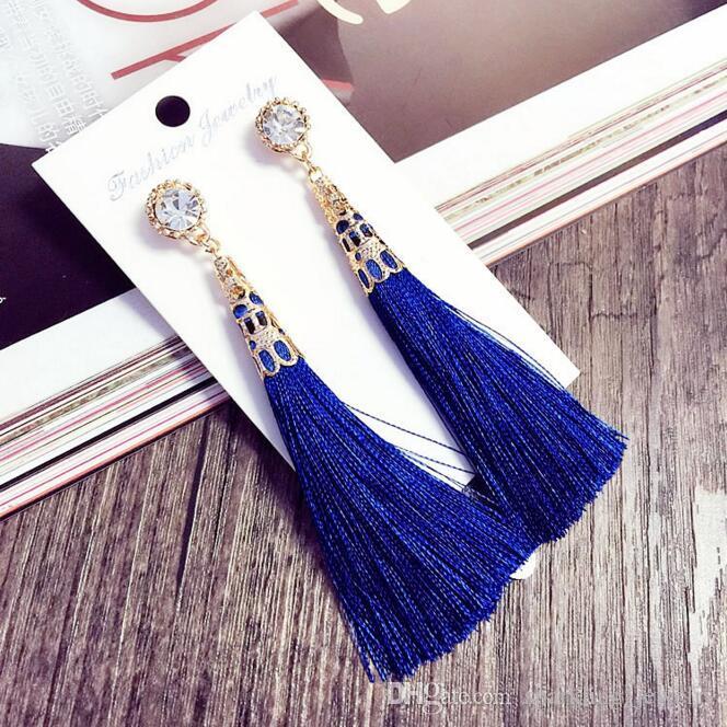 2017 Fashion Tassel Dangle Earrings National Style Gold Plating ...