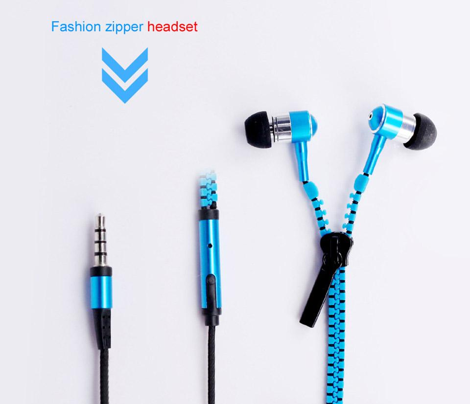Fashional Zipper Metal Headset Stereo Wired Earphones 3.5mm In-Ear Headphone Earphones For LG HTC Samsung Iphone