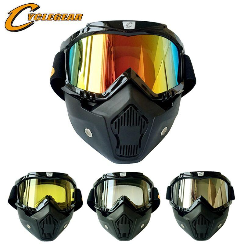 d49ecea887 Hot Promotion Cyclegear Mask Goggles Motocross Helmet Goggle Detachable  Mouth Filter Fitting Open Face Helmet Retro Style Prescription Sunglasses  Motorcycle ...