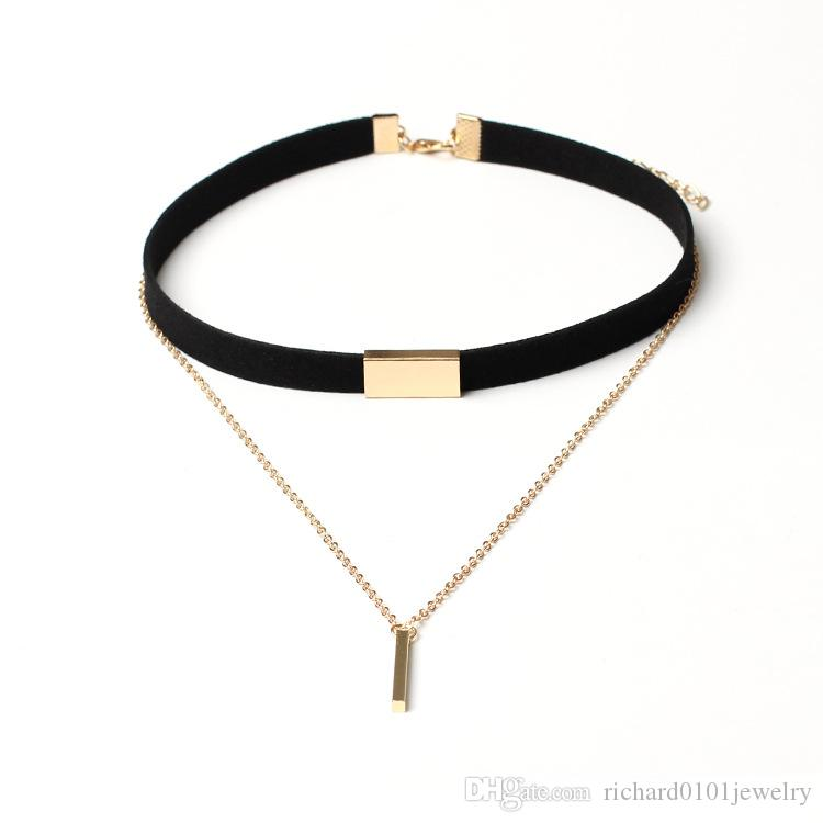 Hot Sale 90'S Punk New Fashion Leather Flocking Choker Necklace Gold Plated Geometry With metal bar Pendant Collar Necklace For Women Girls