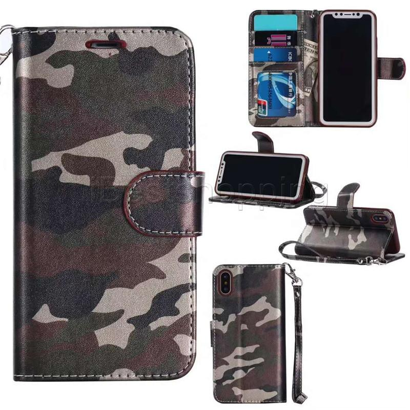 Camo Camouflage Wallet Leather Case For iPhone 7 6 Plus 5 5s Samsung S6 S7 Edge Card Slot Cash Skin Holder Flip Stand Case Cover