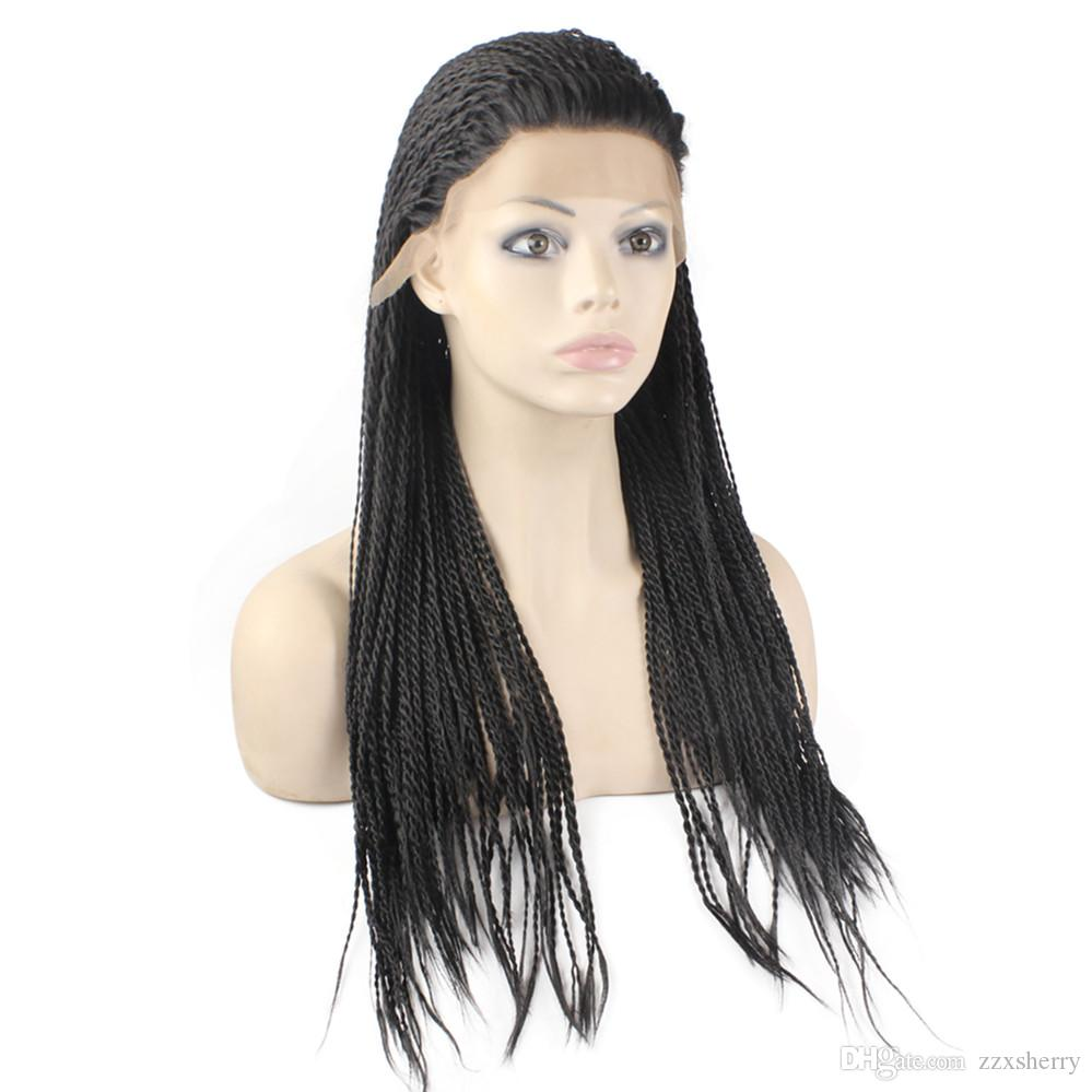 Kanekalon Braiding Hair Wig Full Long Micro Braided Synthetic Lace Front wigs For Black Women, Braid Wig for Africa American