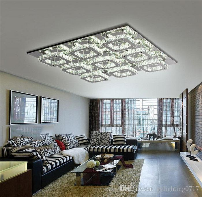 2019 Luxury Large Modern 108w Led Ceiling Chandelier Light K9 Crystal Square Leds Chandeliers