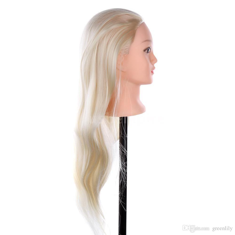 Long Hair Mannequin Head 22 Inch Hairdressing Training Head Model Mannequin for Salon Practice with Clamp