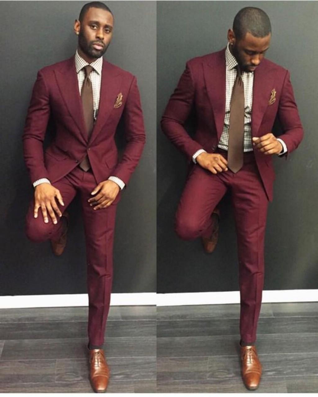 Klasör Burgundy Düğün Erkek Slim Fit Damat Smokin Erkekler Için İki Adet Groomsmen Suit Ucuz Örgün İş Ceketler Kravat Ile