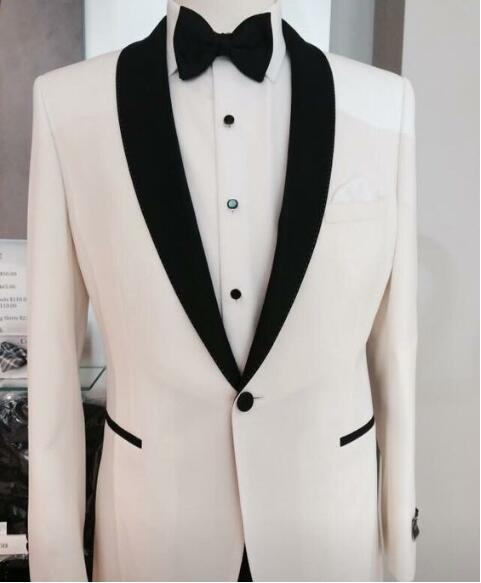 2016 Trends Black and White Shawl Lapel Groom suits/Wedding Suits For Men/Groom Tuxedos 3 Peices SuitsJacket+Pants+tieCM-83110