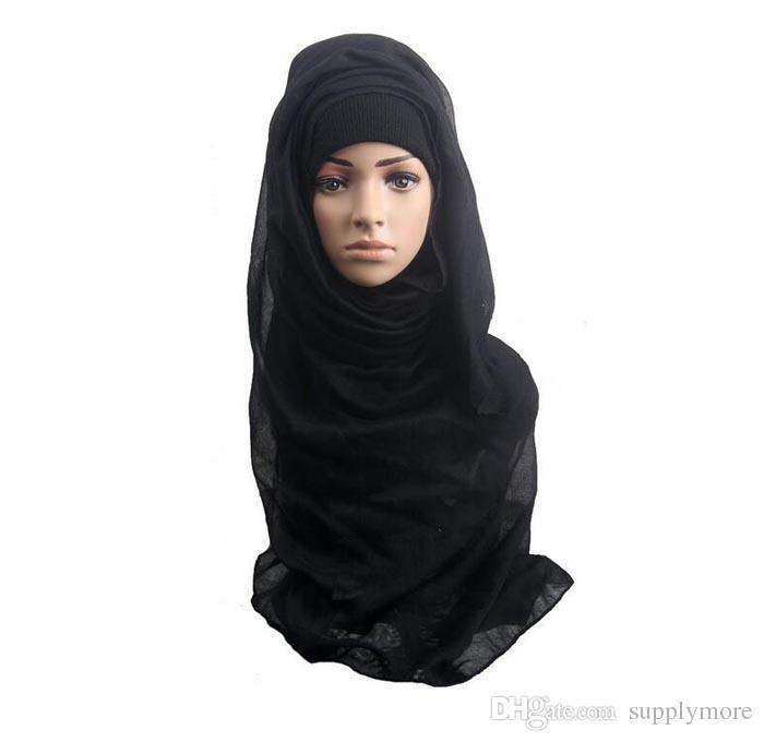 Mode Châles et foulards solides simples femmes écharpe hijab  enveloppements foulard viscosecotton maxi châles doux longs