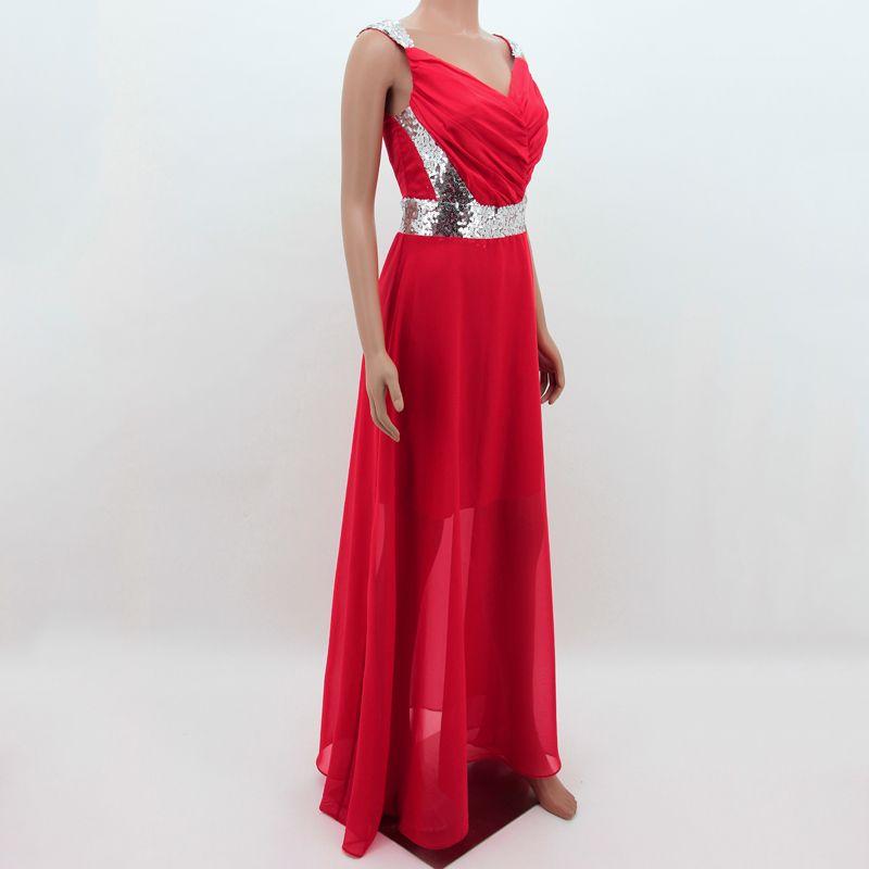 ÜCRETSIZ NAKLIYE Yüksek Kalite Zarif Şifon Boncuklu Maxi Elbiseler Abiye Kadınlar Için