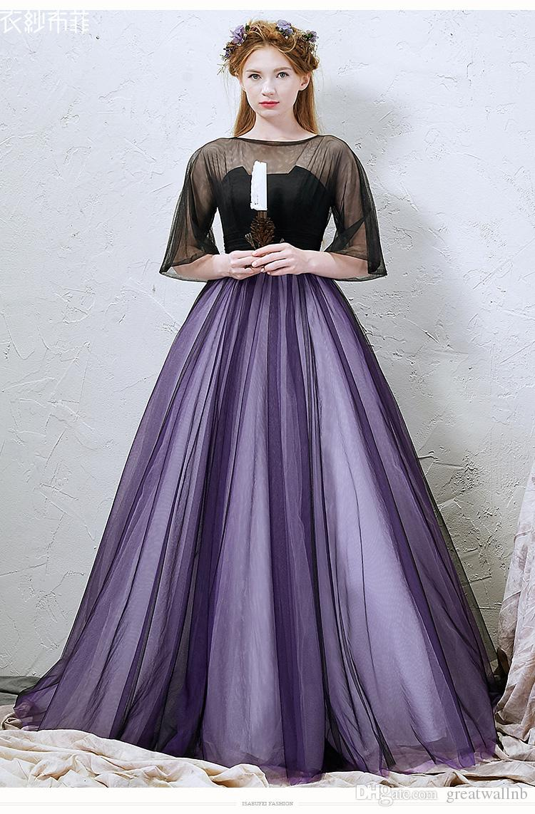 Plain Black Veil Purple Ball Gown Medieval Dress Sissi Princess ...