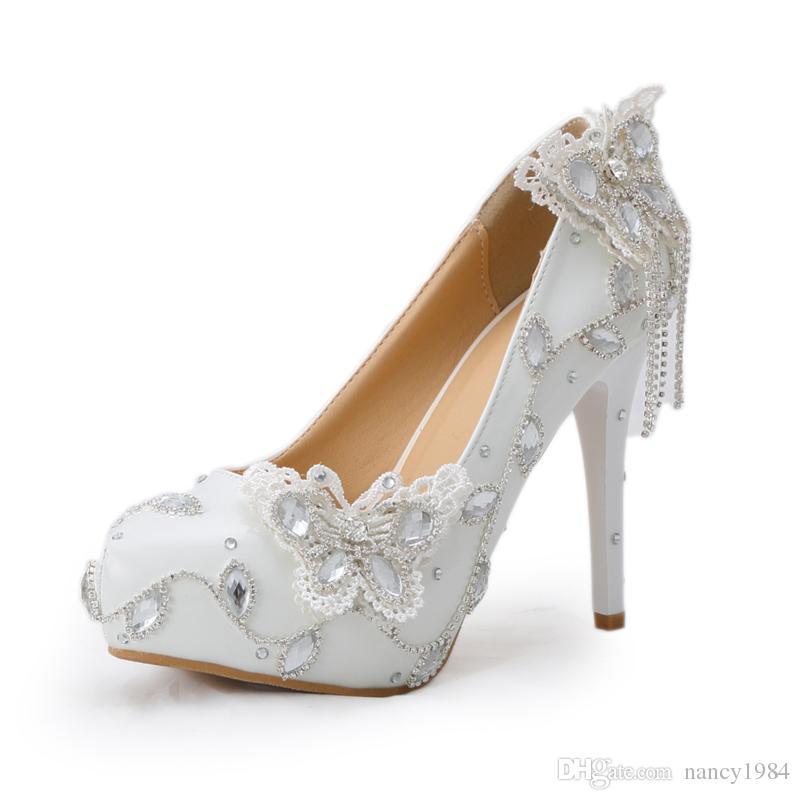 Espumante Borboleta Sapatos De Casamento Sapatos de Noiva de Cristal Vestido Elegante Mulheres Bombas de Festa de Formatura Sapatos de Baile Plataforma de Bomba