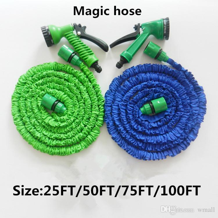 Fornitura di fabbrica Materie plastiche A + Qualità Spruzzatori ugelli a spruzzo d'acqua blu Tubo flessibile acqua espandibile Tubo da giardino Set di tubi