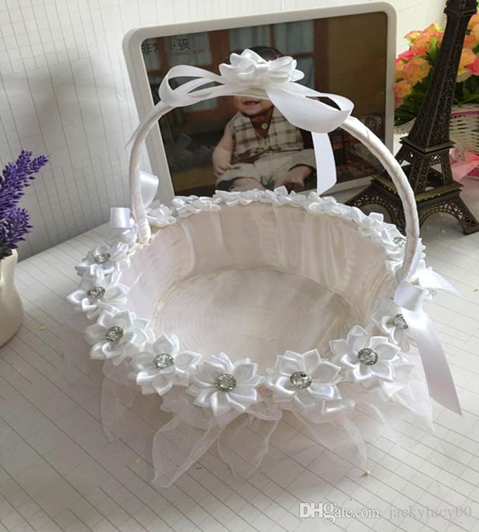 Flower Girl Baskets For Weddings: White / Red / Purple / Pink Lace Wedding Ceremony Flower