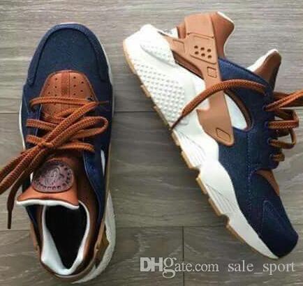 timeless design 46843 fe8ff 2018 Huarache ID Custom Breathe Running Shoes Hombres Mujeres Azul Marino  Tan Tan Fashion Huaraches Multicolor Denim Huarache Sneakers Athletic  Trainers Por ...