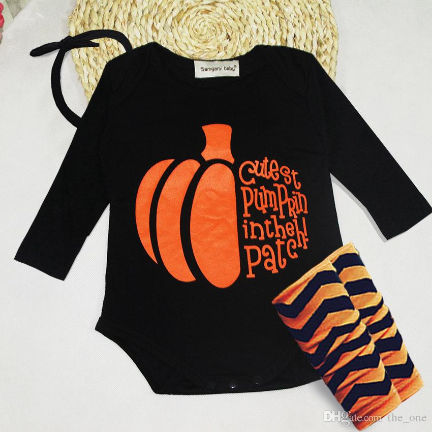 683c92ba13df 2019 Baby Halloween Costumes Fashion Newborn Baby Infant Boy Girl Clothes  Set Baby Rompers Halloween Pumpkin Romper Headband Socks Set From The one