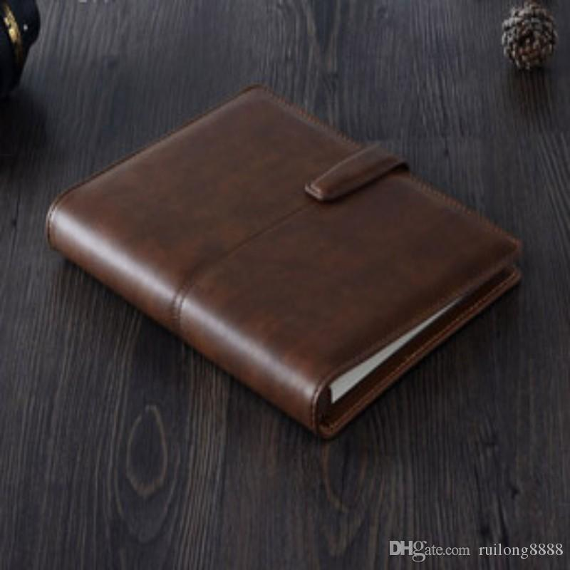 2017 A5 Brown Leather Notebook Ring Binder Journal