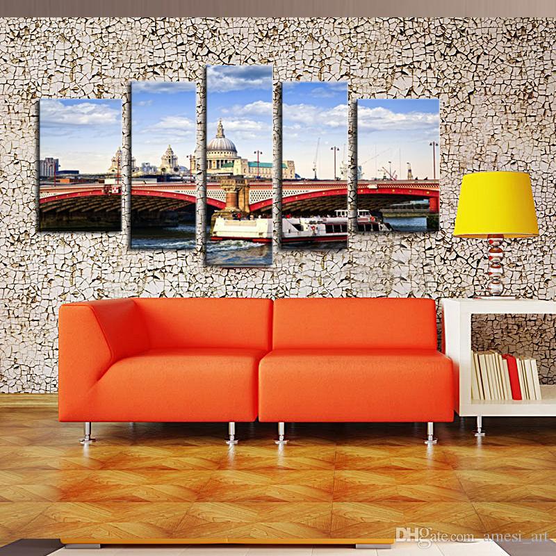 Üst Ev Dekorasyon Boyama Venedik Köprüsü Poster içinde Baskı Retro yapıt Ton Manzara Boyama Duvar Sanatı Ev Dekor Için Tuval üzerine Boyama