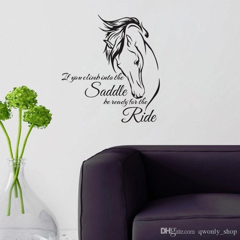 Etiqueta de la pared del vinilo de equitación Arte de vinilo si te subes a la silla de montar Esté listo para el paseo Decoración de caballo Etiqueta de la pared