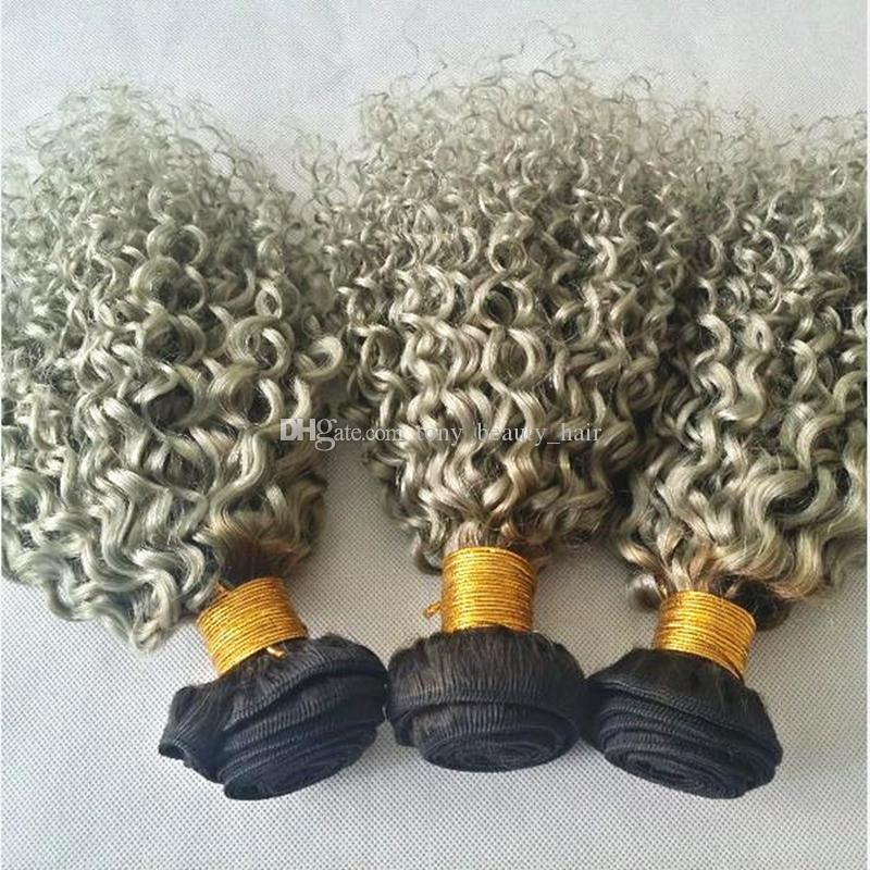 Two Tone 1B/Gray Dark Root Ombre Human Hair With Closure Sliver Grey Ombre Deep Curly Hair Bundles With Lace Closures