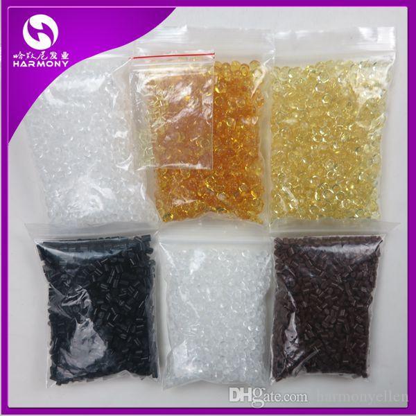 1 kg / lote Fusão Grãos de Cola de Queratina Contas de Grânulos de Queratina Preta Transparente para Pré-coladas I-Tip U-Tip Extensões de Cabelo