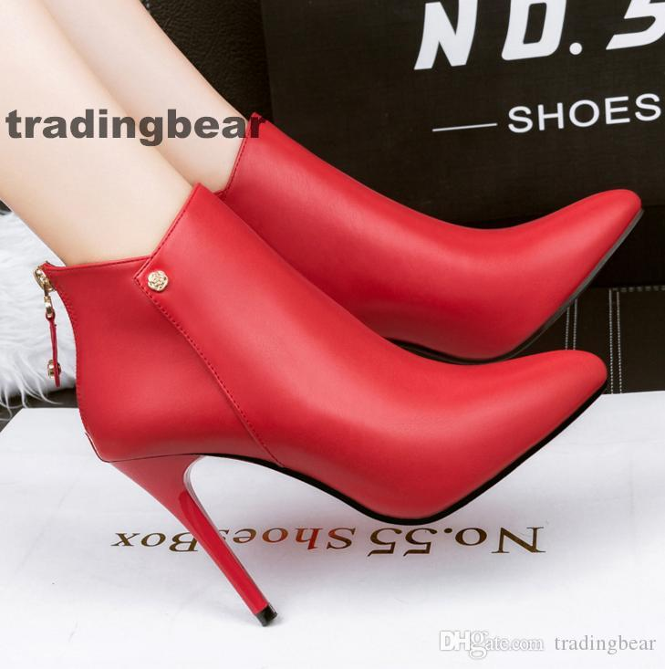 ca44686052a7 Fashion Women High Heels Ankle Boots Red Pointed Toe Wedding Shoes Size 34  To 39 Rain Boots For Women Wedge Booties From Tradingbear, $31.73|  DHgate.Com