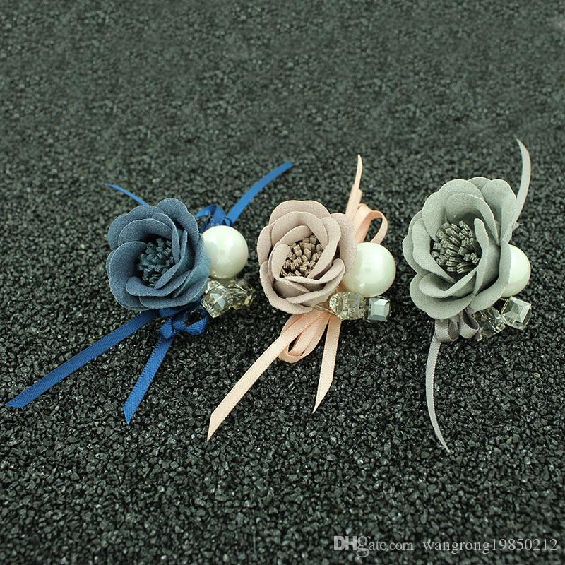 Cloth art flowers brooches pins rose floral camellia pearl crystal rhinestone brooch pin party birthday christmas gifts