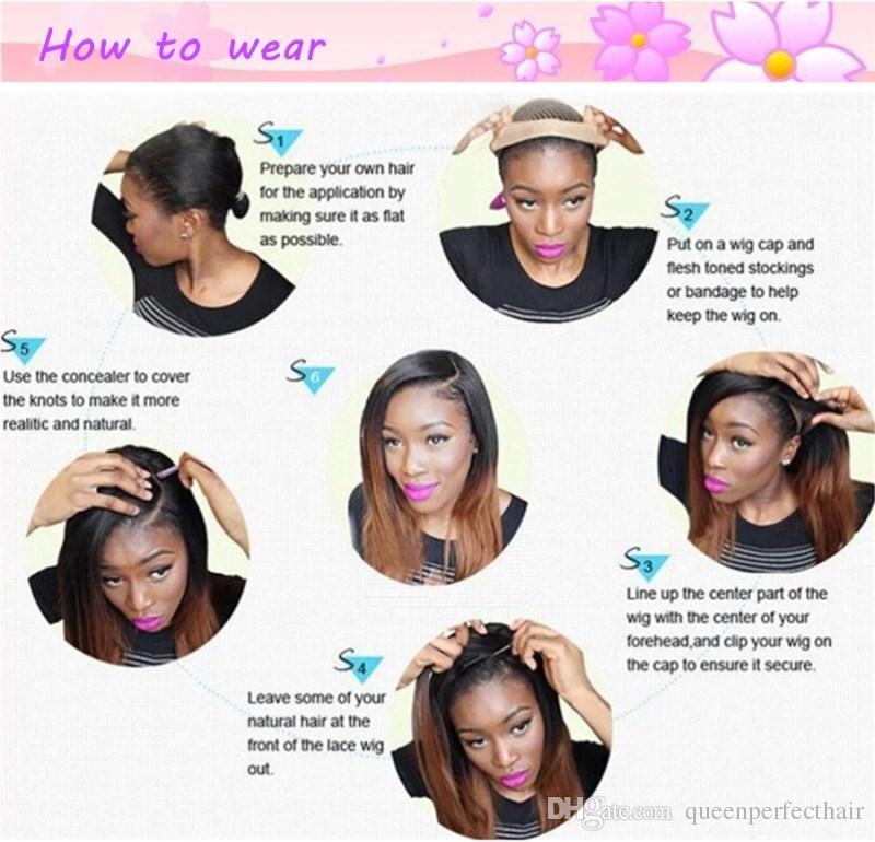 Натуральные женщины короткие боб кружевные фронтальные парики прямые синтетические кружева фронт парик 10% бразильских волос человеческих волос предварительно сорванный теплостойкий