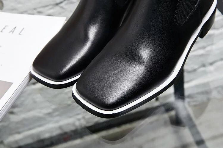 Fashionville * U671 40 Black / Bianco / Bianco Pelle Genuine Pelle Brevi Stivali Moda Donna Autunno