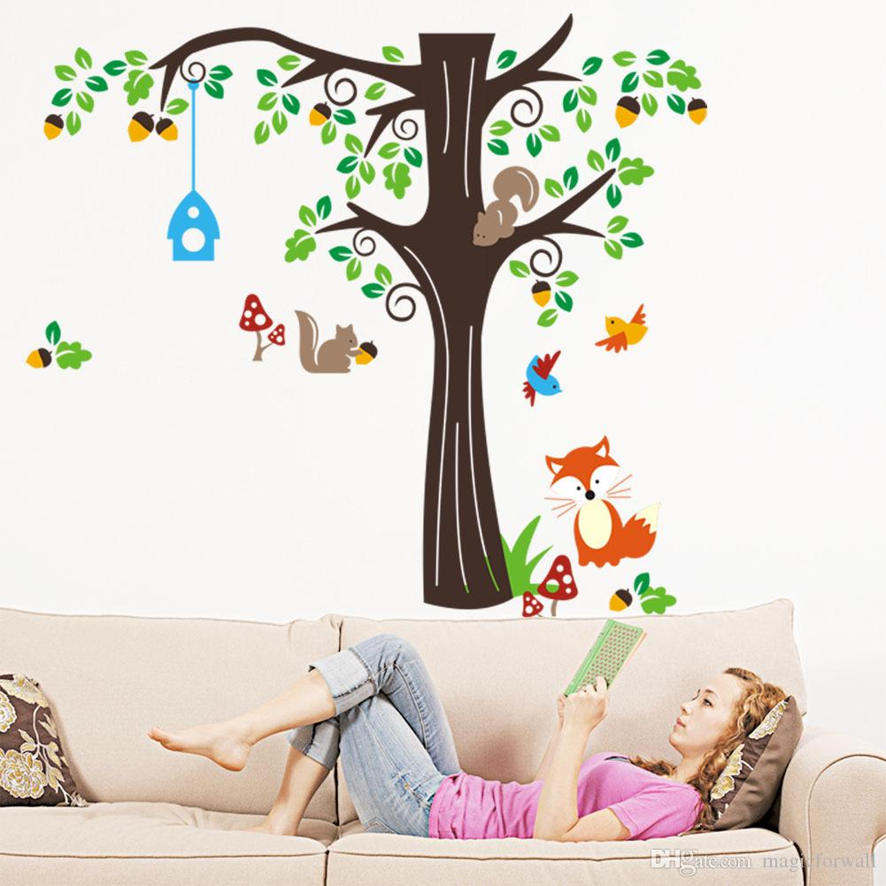 The Home Of Squirrels Wall Stickers for Kids Girls Mushroom Flying Birds Fox Large Tree Infant Nursery Wall Decals Cartoon Animals Wall Art